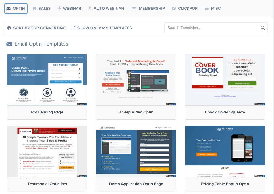 click funnels templates showing one of the best sales funnel websites