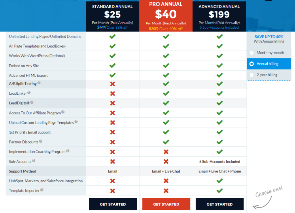 Leadpages pricing breakdown of the 3 programs and one of our selected best sales funnel websites