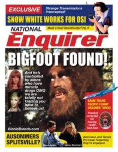 A National Enquirer magazine cover showing a catchy cover as an example of how catchy a classified ad can be.
